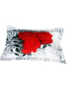 Noble Red Rose 3D Printed 2-Piece Pillow Cases