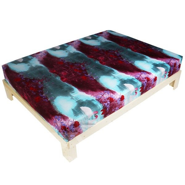 Popular White Swan with Flower Print 3D Fitted Sheet