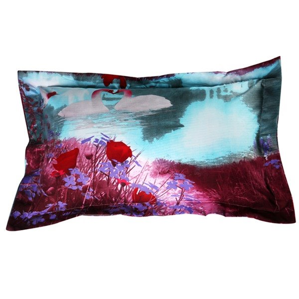 Noble White Swan with Flower Print 2-Piece Pillow Cases