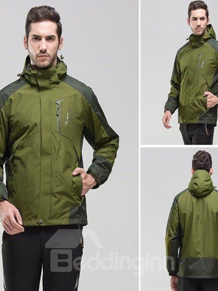 Male Outdoor 3 in 1 Waterproof and Windproof Front Zipper Jacket
