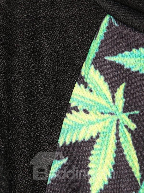 Long Sleeve Leaves Pattern Black 3D Painted Hoodie