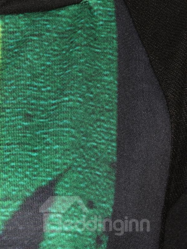 Modern Long Sleeve Maple Leaf Pattern Black 3D Painted Hoodie