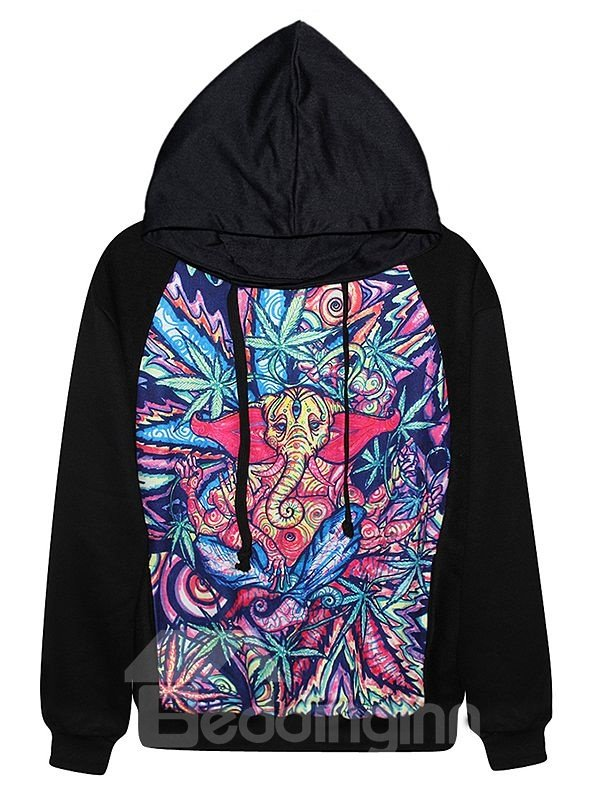 Long Sleeve Abstract Pattern Black 3D Painted Hoodie