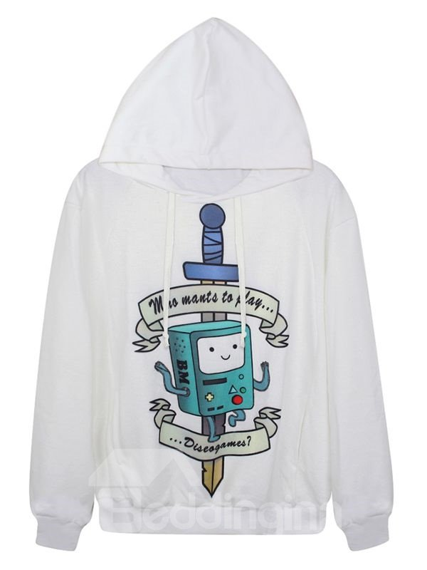 Long Sleeve Novelty Pattern White 3D Painted Hoodie
