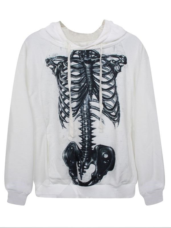 Halloween Long Sleeve Skeleton Pattern White 3D Painted Hoodie