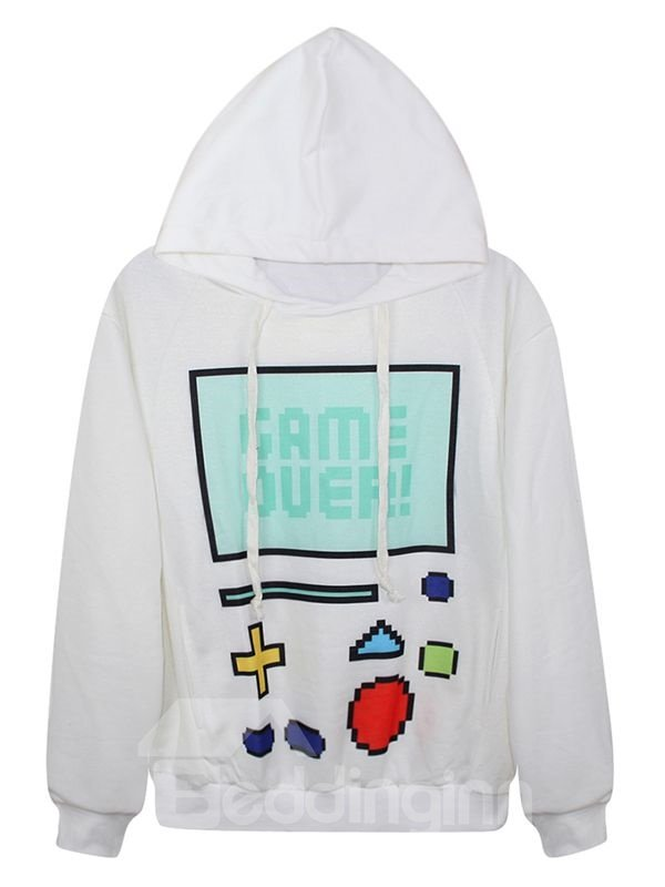 Fashion Long Sleeve Game Machine Pattern White 3D Painted Hoodie