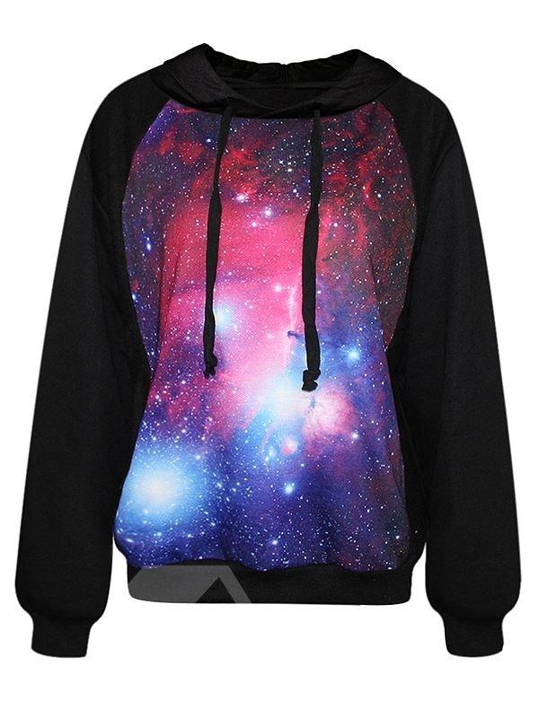 Popular Long Sleeve Starry Sky Pattern Black 3D Painted Hoodie