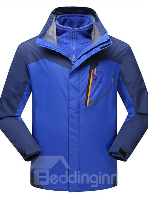 Male Color Block Outdoor 3 in 1 Windproof and Waterproof Fleece Lining Jacket