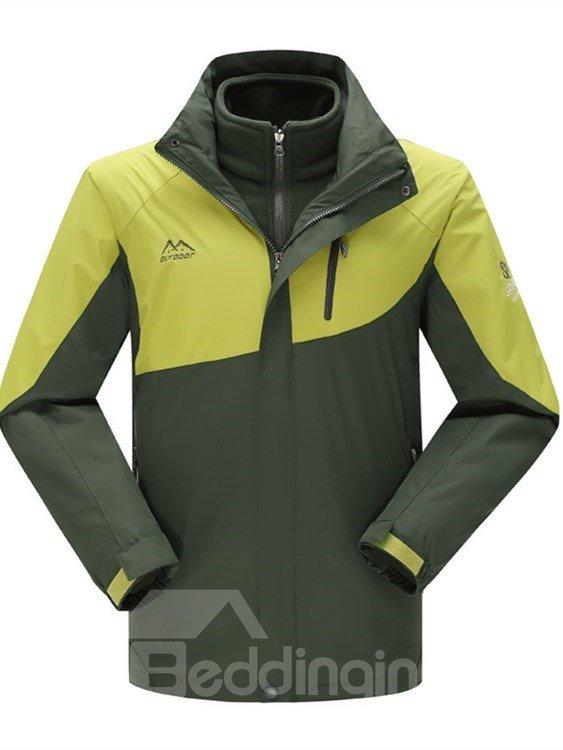 Male Contrast Color Outdoor Windproof and Waterproof 3 in 1 Front Zipper Warm Jacket