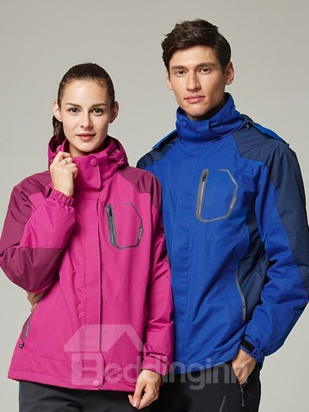 Male Waterproof 3 in 1 with Fleece 2 Piece UV-Protection Winter Warm Camping and Hiking Jacket