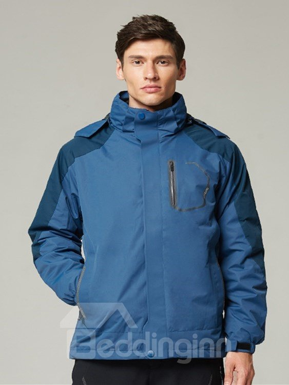 Male Outdoor Waterproof 3 in 1 with Fleece Lining Warm Camping and Hiking Jacket