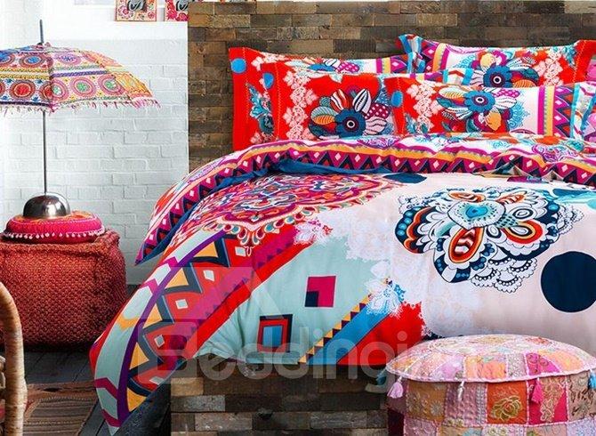 Beautiful Boho Style 4-Piece Cotton Duvet Cover Sets