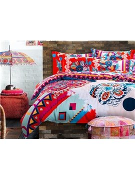Beautiful Boho Style 4-Piece Cotton Duvet Cover Sets
