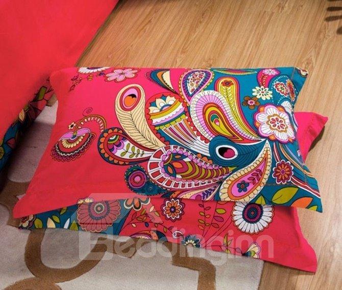 Unique Peacock Prink 4-Piece Cotton Duvet Cover Sets