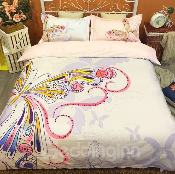 Colorful Butterfly Reactive Printing Combed Cotton 4-Piece Bedding Sets