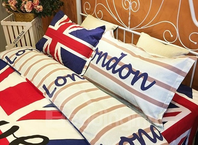 Excellent Union Jack and Letter Print 4-Piece Cotton Duvet Cover Sets