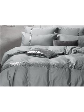 Noble Grey 4-Piece Cotton Duvet Cover Sets
