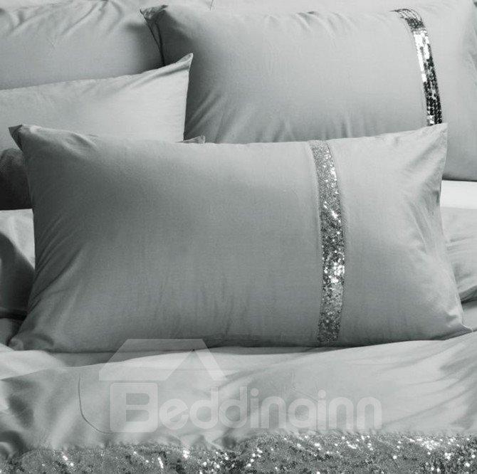 Sequin Grey Cotton 4-Piece Bedding Sets/Duvet Covers