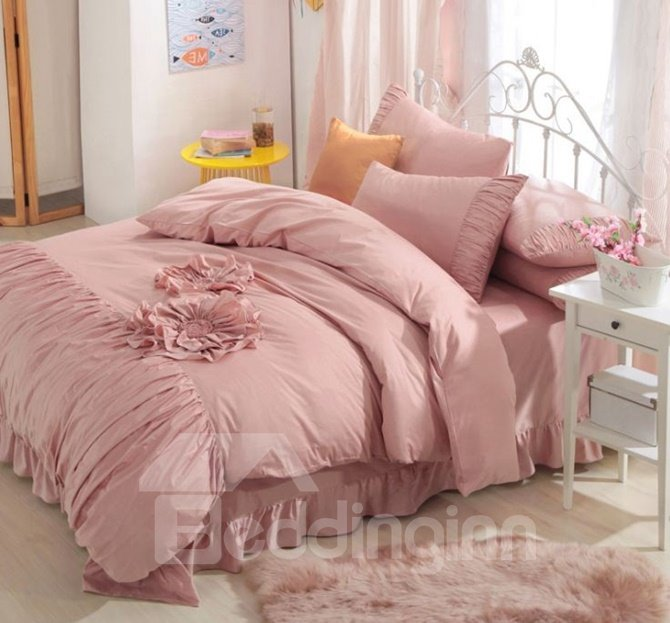 Fancy Solid Color Applique 4-Piece Cotton Duvet Cover Sets