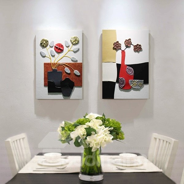 Flowers in Vase Hanging 2-Piece Handmade Polyurethane Waterproof and Eco-friendly Framed Prints