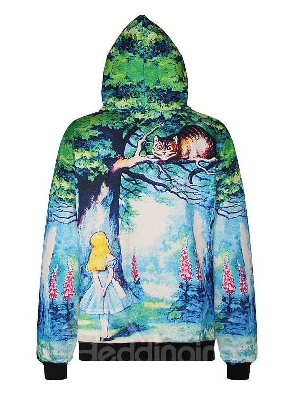 Lovely Long Sleeve Cartoon Pattern Pocket 3D Painted Hoodie