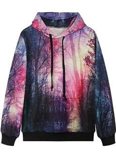 Fabulous Long Sleeve Landscape Pattern Pocket 3D Painted Hoodie