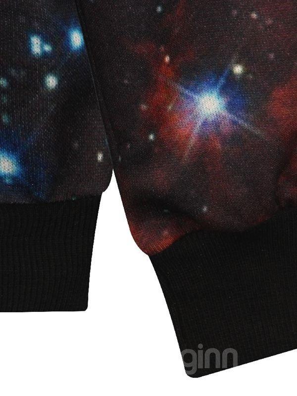 Shining Long Sleeve DIY Galaxy Pattern Pocket 3D Painted Hoodie