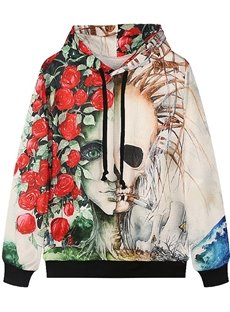 Unique Long Sleeve Rose and Skull Pattern Pocket 3D Painted Hoodie