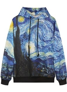Fancy Long Sleeve Oil Painting Pattern Pocket 3D Painted Hoodie