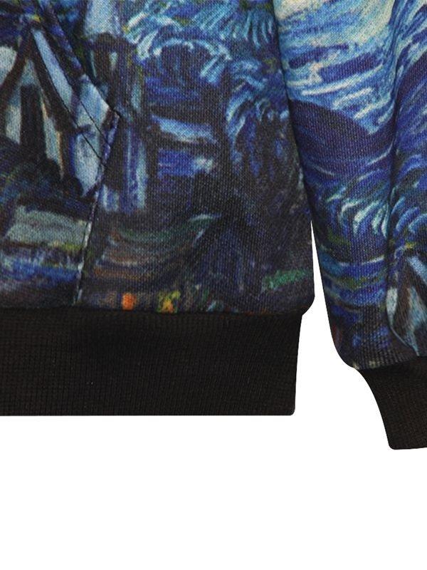 Fancy Long Sleeve Oil Painting Pattern Pocket 3D Painted Hoodie