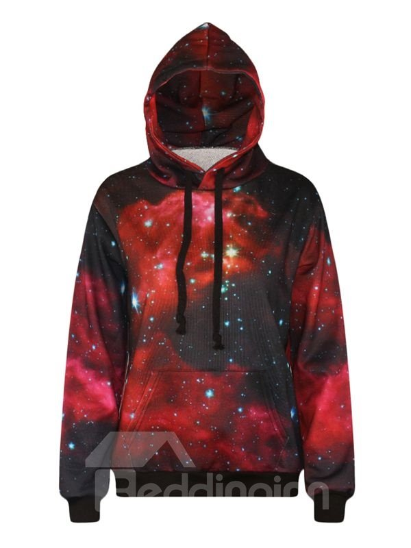 Long Sleeve Starry Sky Pattern Pocket 3D Painted Hoodie