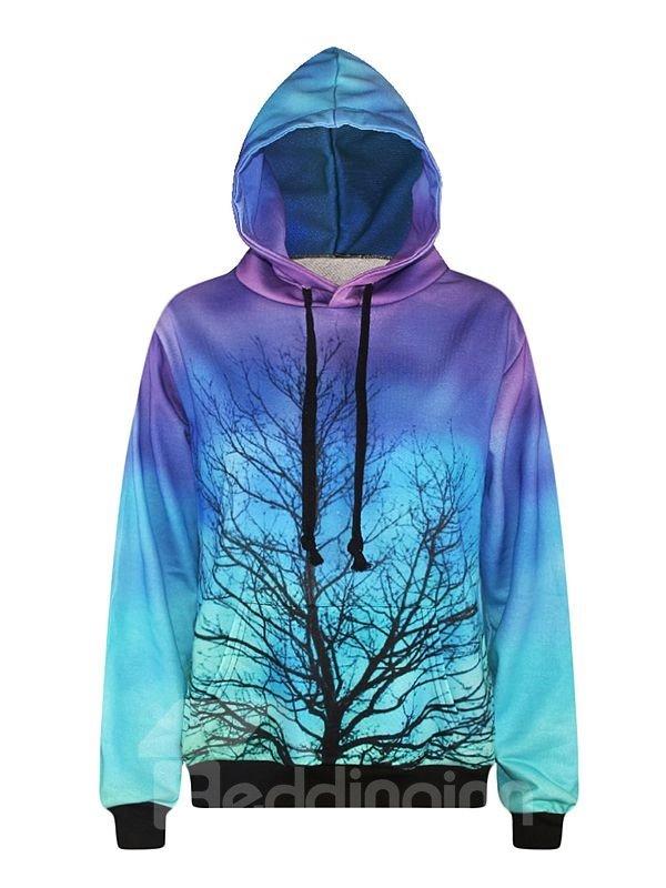 Long Sleeve Tree Pattern Multicolor Background Pocket 3D Painted Hoodie