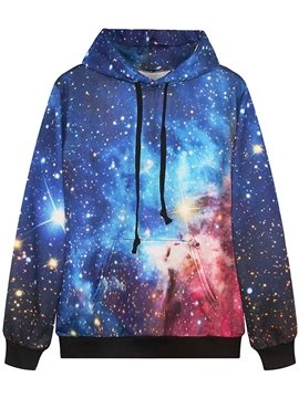 Shining Long Sleeve Blue Galaxy Pattern Pocket 3D Painted Hoodie