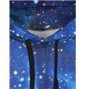 Shining Long Sleeve Blue Galaxy Pattern Pocket 3D Painted Hoodie