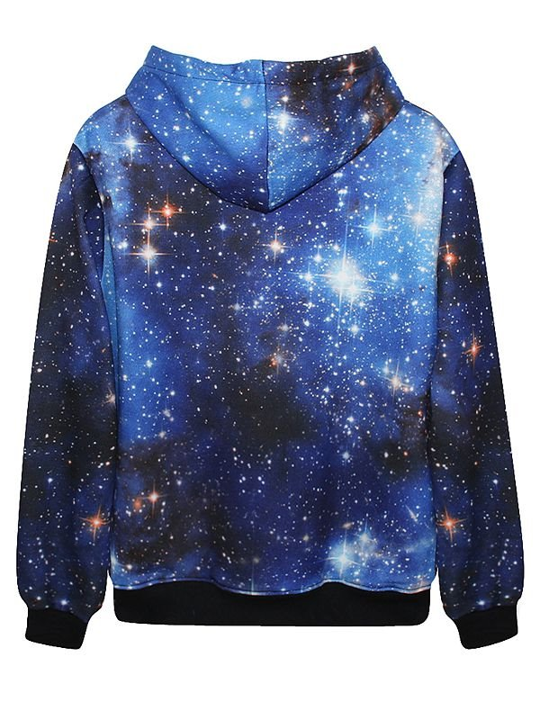 Fabulous Long Sleeve Blue Galaxy Pattern Pocket 3d Painted