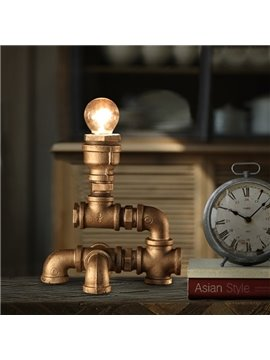 Amusing Creative Design Iron Frame Pipe Shape Decorative Table Lamp