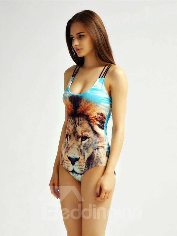 Female Wild 3D Lion Pattern Corss Halter Free Wire Monokini