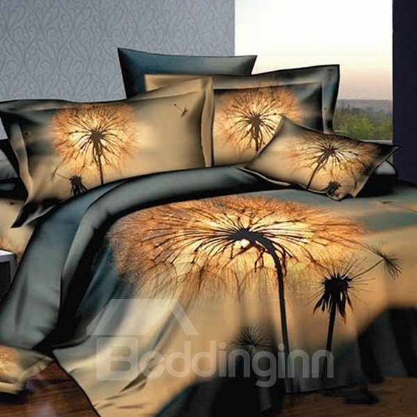 Dandelion Printing Skincare Cotton 3D Fitted Sheet