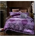 Purple Jacquard with Lace Embellishment 4-Piece Duvet Cover Sets