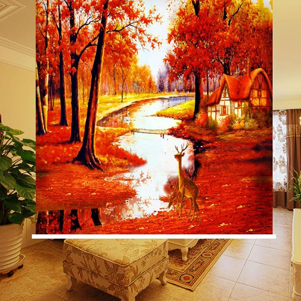 Magic Red Trees on both Sides of the River 3D Printing Blackout Roller Shades