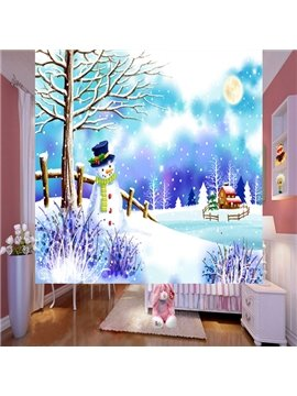 Lovely Cute Cartoon Snowman 3D Printing Blackout Roller Shades