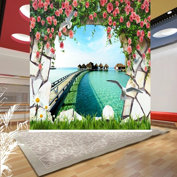 Wonderful Village by the Sea 3D Printing Blackout Roller Shades