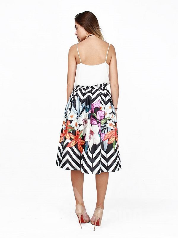 Flower Pattern Stripe Polyester Background 3D Painted Midi Skirt