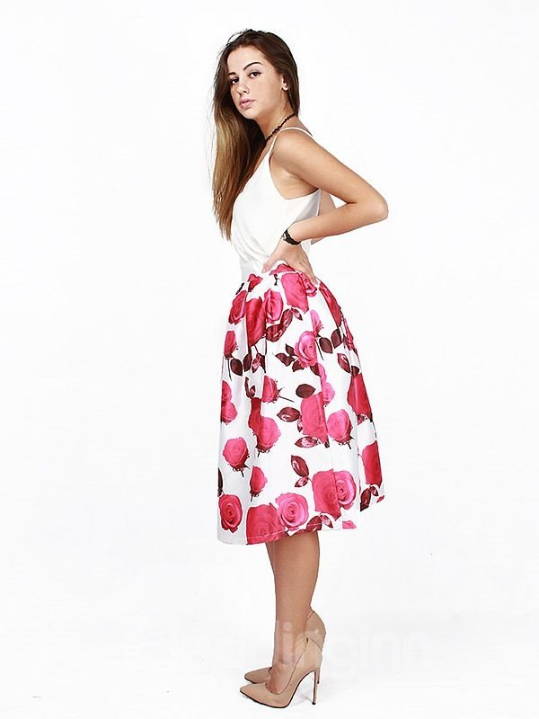 Amazing Rose Pattern White 3D Painted Midi Skirt