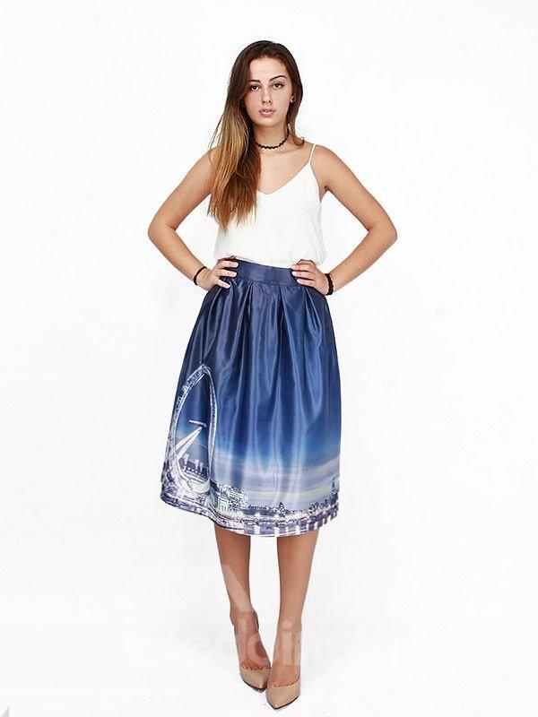 Modern Sky Wheel Pattern 3D Painted Midi Skirt