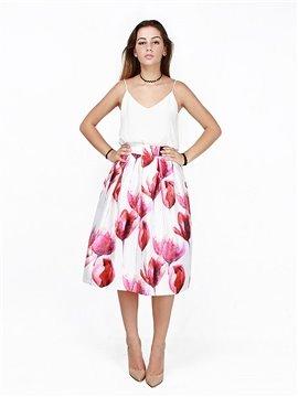 Wonderful Flower Pattern 3D Painted Midi Skirt