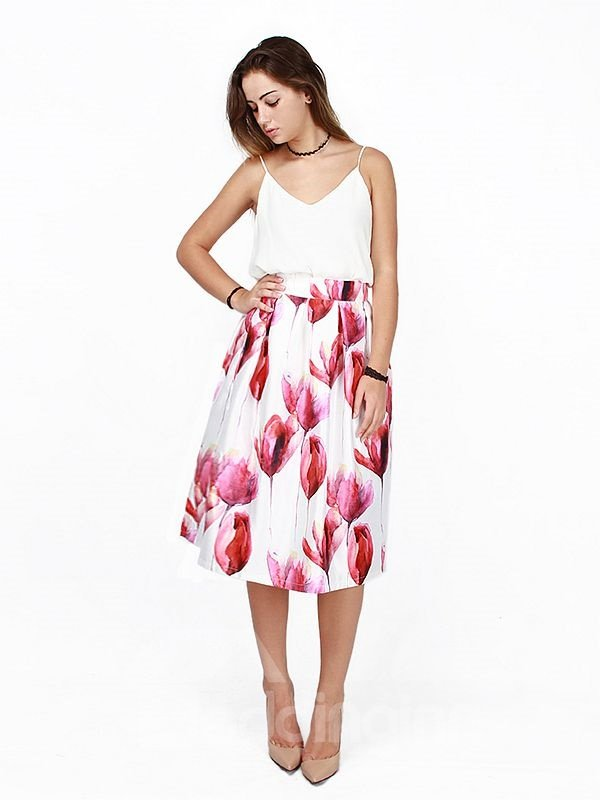 Floral Pattern High-Waist Knee-Length 3D Painted Skirt