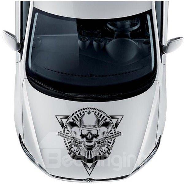 Cool Gentlemen Skull Design With Double Gun In Fashion Hat Front Car Sticker