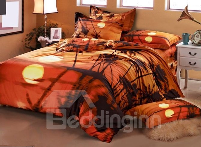 Charming Tropical Scenery Cotton 4-Piece Duvet Cover Sets
