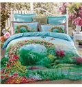 Attractive Colorful Flower and Butterfly Print Cotton 4-Piece Duvet Cover Sets